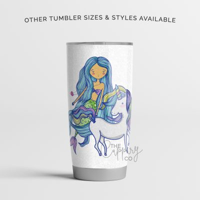 Mermaid with Unicorn (Tan Complexion) Stainless Steel Glitter Tumbler - YETI Ozark