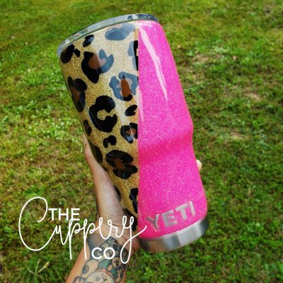 Leopard Print and Hot Pink Stainless Steel Glitter Tumbler - YETI or Ozark