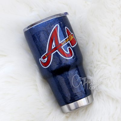 Atlanta Braves Stainless Steel Glitter Tumbler - YETI or Ozark