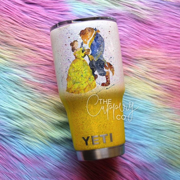 Beauty & the Beast Watercolor Stainless Steel Glitter Tumbler - YETI or Ozark