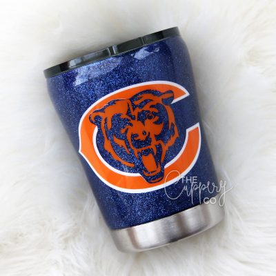 Chicago Bears Stainless Steel Glitter Tumbler - YETI or Ozark