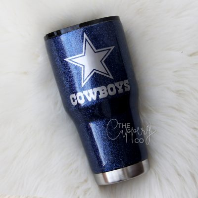 Dallas Cowboys Stainless Steel Glitter Tumbler - YETI or Ozark