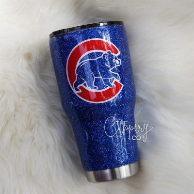Chicago Cubs Stainless Steel Glitter Tumbler - YETI or Ozark