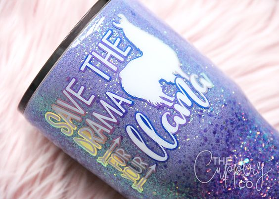 Save the Drama for Your Llama Stainless Steel Glitter Tumbler - YETI or Ozark