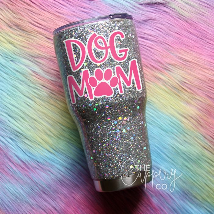 Dog Mom Stainless Steel Glitter Tumbler - YETI or Ozark