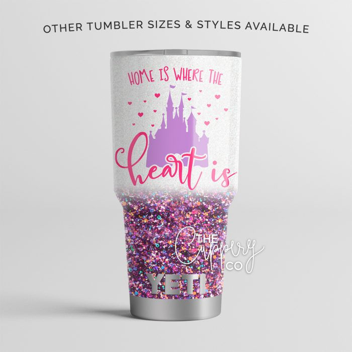 Home Is Where the Heart Is Stainless Steel Glitter Tumbler - YETI or Ozark