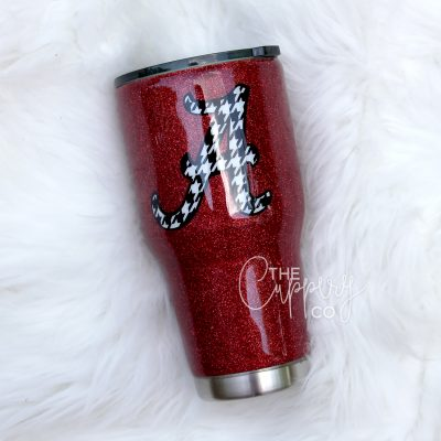 Alabama Stainless Steel Glitter Tumbler - YETI or Ozark