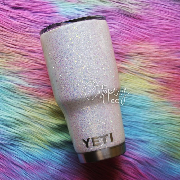 Iridescent White Chunky Mix Stainless Steel Glitter Tumbler - YETI or Ozark