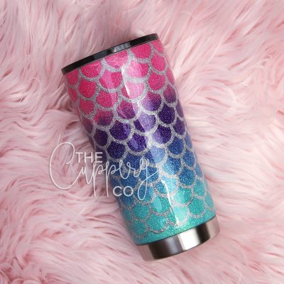Mermaid Stainless Steel Glitter Tumbler - YETI or Ozark