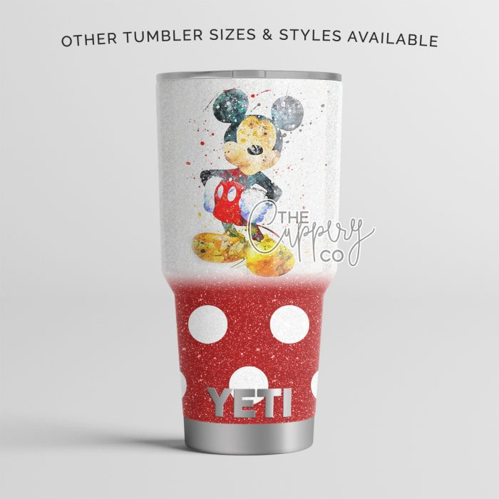 Watercolor Mickey Stainless Steel Glitter Tumbler - YETI or Ozark