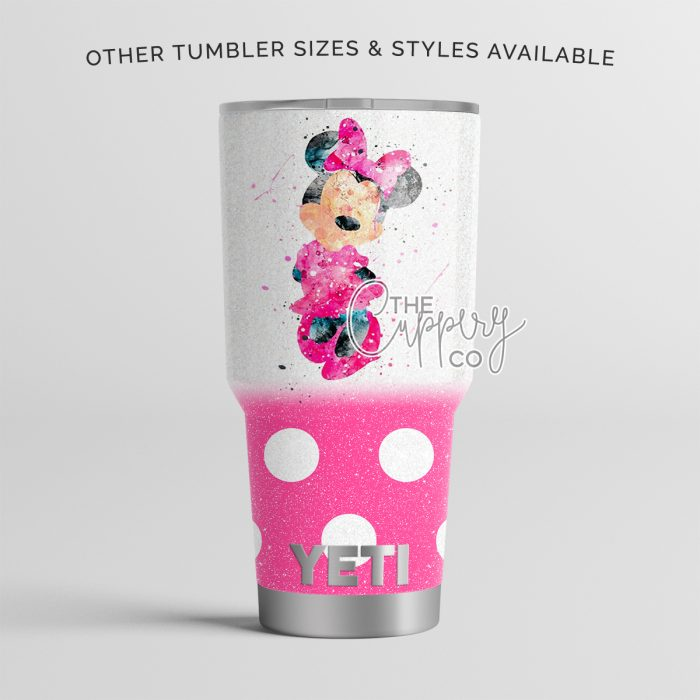 Watercolor Minnie Stainless Steel Glitter Tumbler - YETI or Ozark