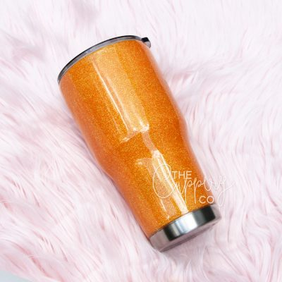 Orange Stainless Steel Glitter Tumbler - YETI or Ozark
