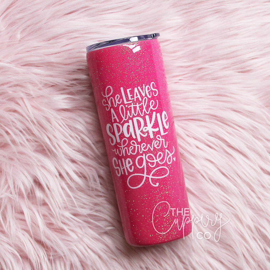 d0a08b63337a She Leaves A Little Sparkle Stainless Steel Glitter Tumbler - YETI or Ozark