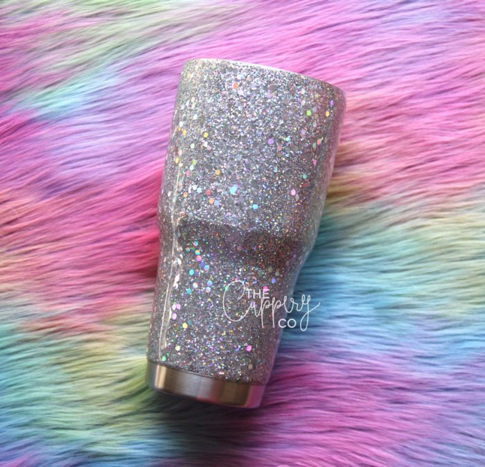 Holographic Silver Chunky Mix Stainless Steel Glitter Tumbler - YETI or Ozark