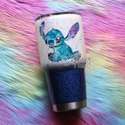 Watercolor Stitch Stainless Steel Glitter Tumbler - YETI or Ozark