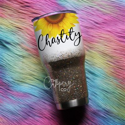 Sunflower Stainless Steel Glitter Tumbler - YETI or Ozark