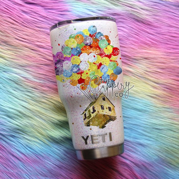 Watercolor Up Stainless Steel Glitter Tumbler - YETI or Ozark