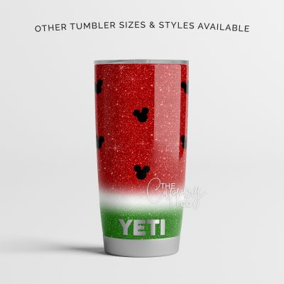 Watermelon Mickey Mouse Stainless Steel Glitter Tumbler - YETI or Ozark