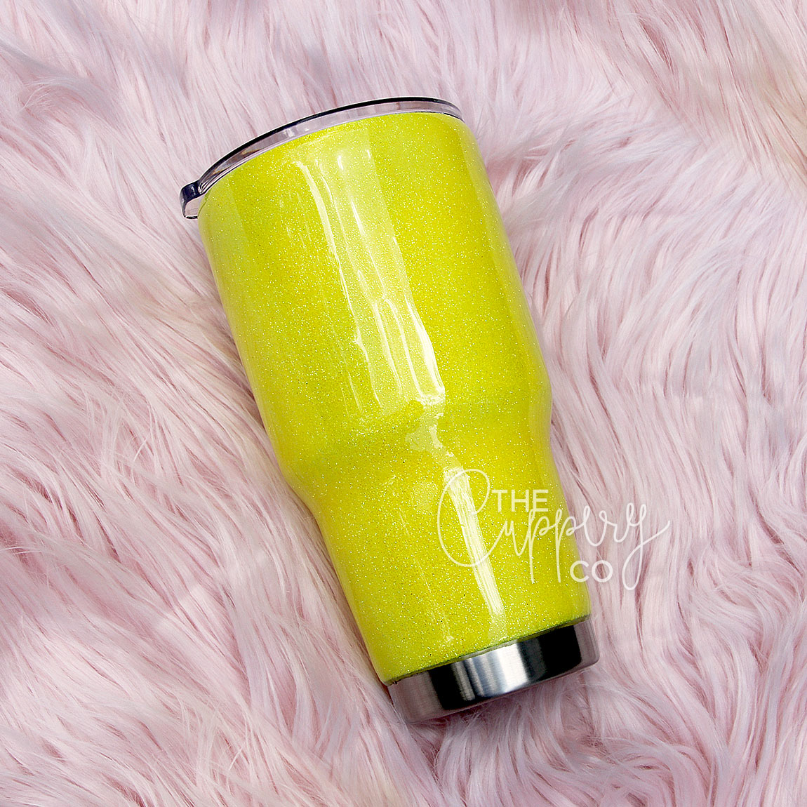 3fd582444a4 Yellow Stainless Steel Glitter Tumbler - YETI Ozark - The Cuppery Co