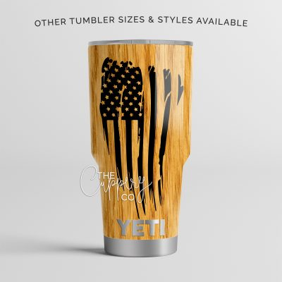 Light Woodgrain Distressed American Flag Stainless Steel Tumbler - YETI Ozark