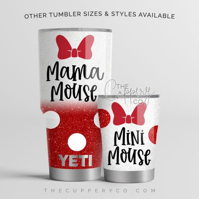Mama Mouse & Mini Mouse Red Set Stainless Steel Glitter Tumblers