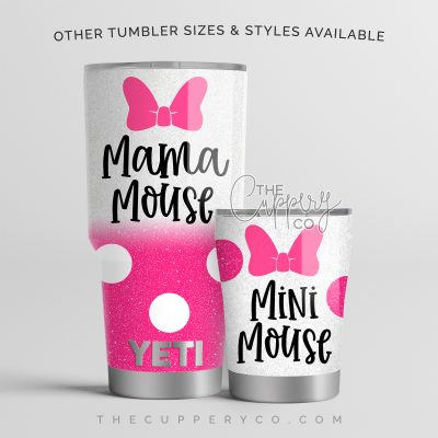 Mama Mouse & Mini Mouse Hot Pink Set Stainless Steel Glitter Tumblers