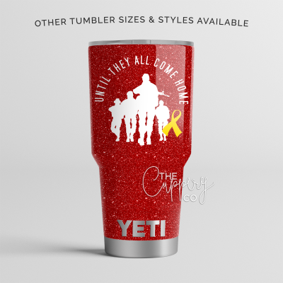 Until They All Come Home Red Friday Stainless Steel Glitter Tumbler