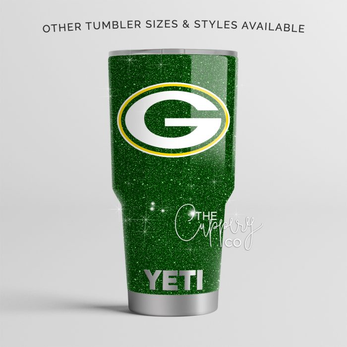 Green Bay Packers Stainless Steel Glitter Tumbler
